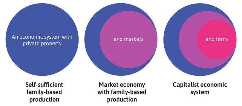 A capitalist economy adds firms to a market economy built on family-centred enterprises and private property.