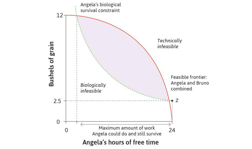 Angela's maximum working day: Given the feasible frontier, there is a maximum amount of work above which Angela could not survive, even if she could consume everything she produced.