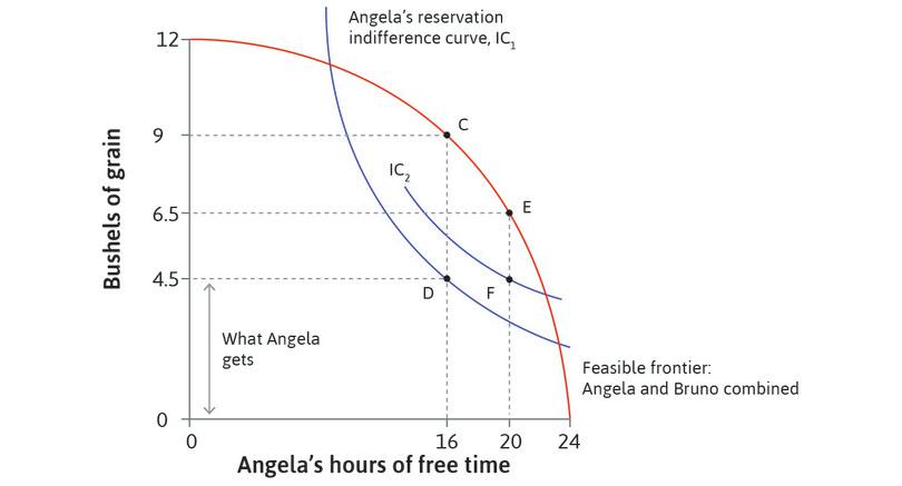 The effect of legislation: With legislation that reduces work to 4hours and keeps Angela's amount of grain unchanged, she is on a higher indifference curve at F. Bruno's grain is reduced from CD to EF (2 bushels).