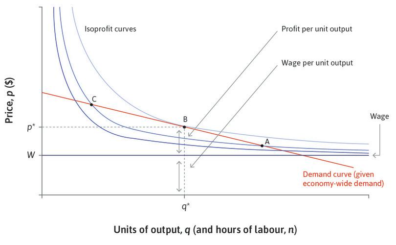 The firm's profit-maximizing choice of price, quantity, and employment.