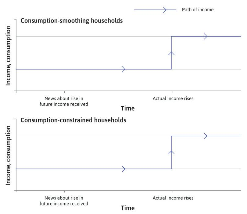 Income over time: The blue lines on the figure show that the path of income over time is the same in both households.