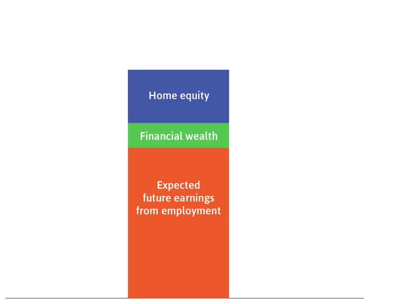 The household's ownership stake in the house: This is the blue rectangle.