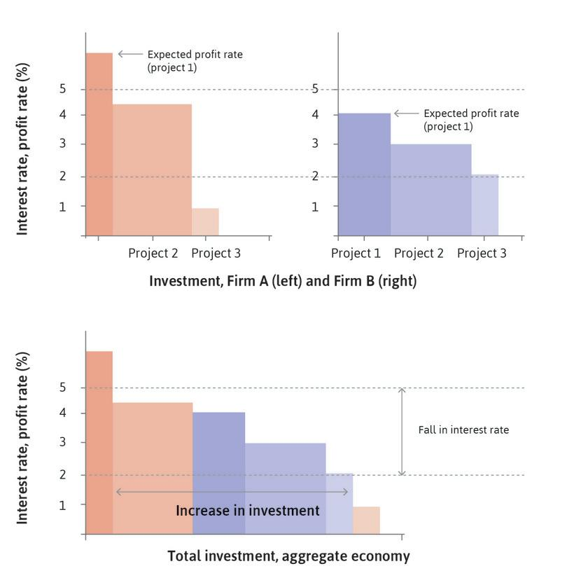 Investment, expected rate of profit, and the interest rate in an economy with two firms.