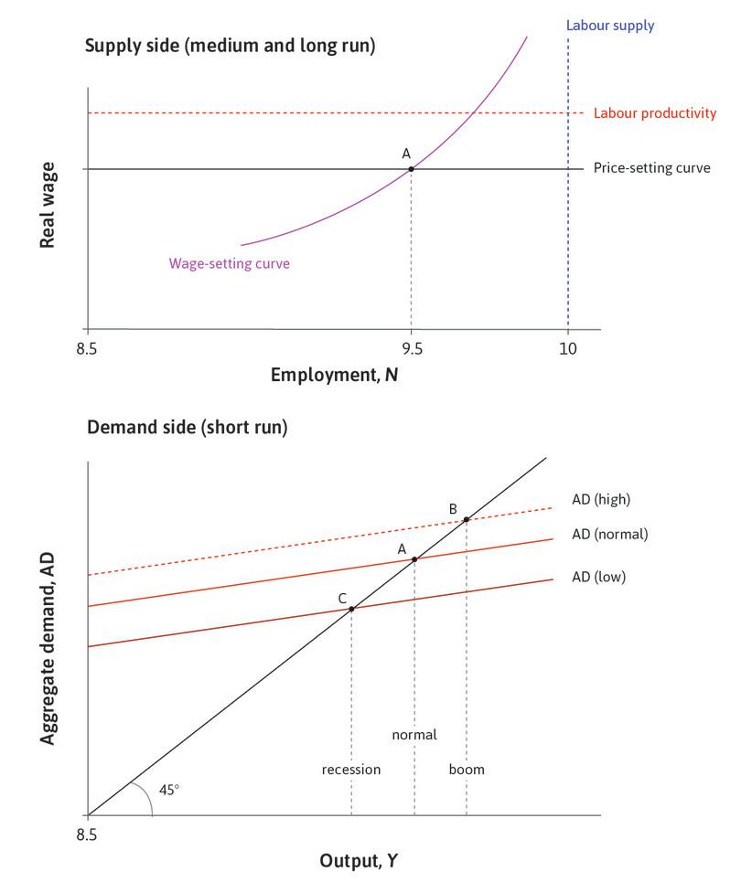 The supply side and the demand side of the aggregate economy.