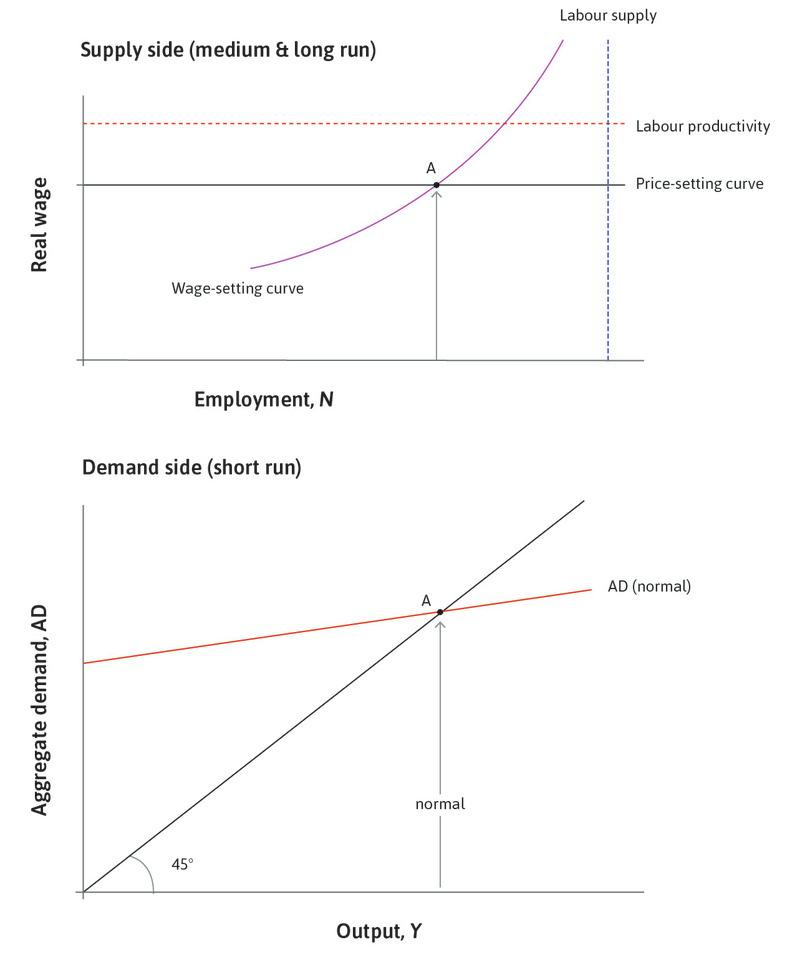 Labour market equilibrium: The economy is initially at labour market equilibrium at point A with unemployment of 5%. The level of aggregate demand must be as shown by the aggregate demand curve labelled 'normal'.