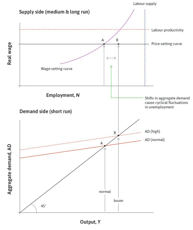 A boom: Consider a rise in investment that shifts the aggregate demand curve up to AD (high), so that output and employment rise. The economy is at B: with the boom, unemployment falls below 5%. The additional employment is called cyclical employment.