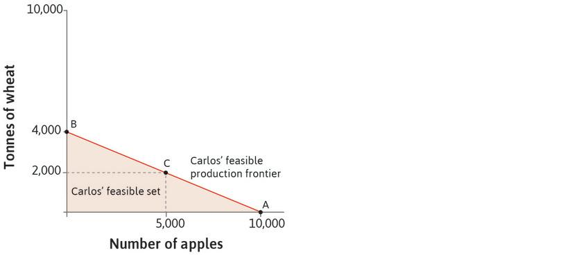 Carlos' feasible set: He can produce anywhere between the origin and the feasible production frontier. The red shaded area shows his feasible set.