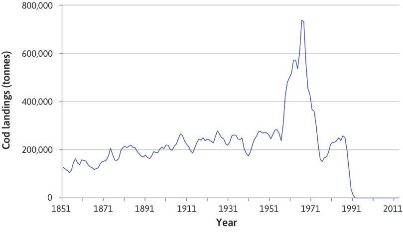 The amount of cod caught in the Grand Banks (North Atlantic) fisheries (1851–2014).