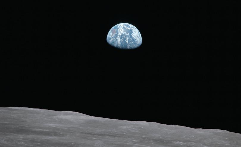 Earth rise as seen from lunar surface: NASA