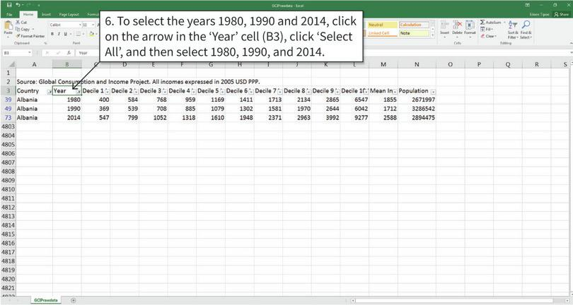 Filter the data to see only the years we need : After completing step 6 your spreadsheet should look similar to the example above, with only the countries and years you want to see.