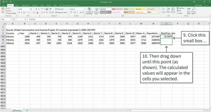Repeat this calculation for the rest of the rows : You don't need to type the same formula many times. Simply copy the formula to other cells to calculate the rich/poor ratio for other years.