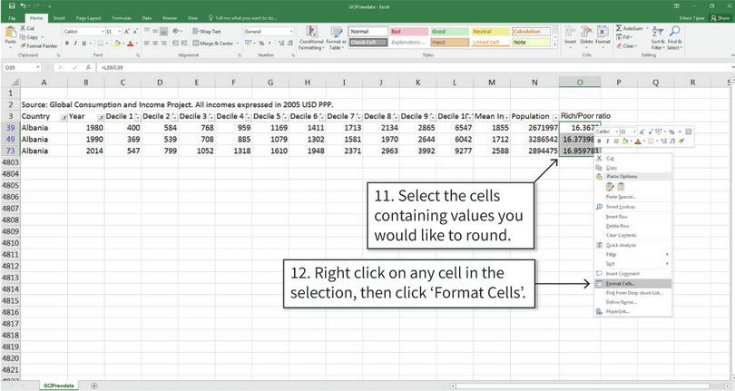 Round the calculated values to one decimal place : Currently the calculations are not rounded to a given number of decimal places. To change the number of decimal places shown, we need to reformat the cells.