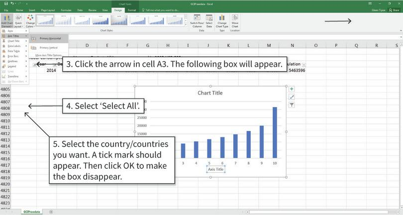 Filter the data to see only the country/countries we need : After completing step 5, only the data for your selected country/countries is shown in the spreadsheet. Data for the other countries is still there, but hidden.