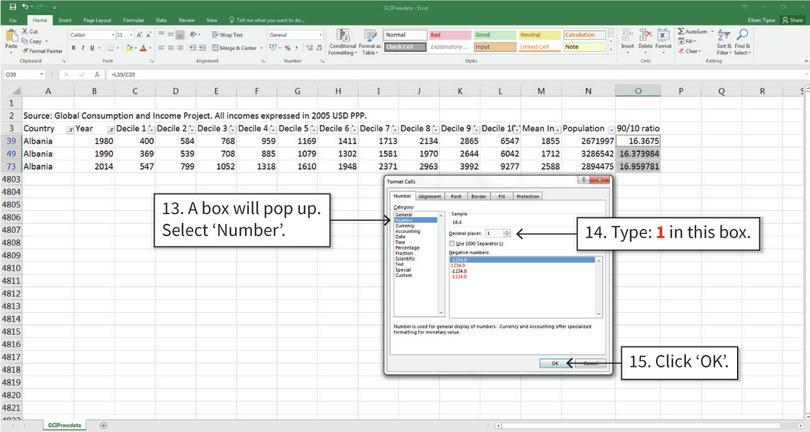 Round the calculated values to 1 decimal place : After step 15, the cell values will be displayed to 1 decimal place. Excel still stores the full number, but only shows the number of decimal places you specified.