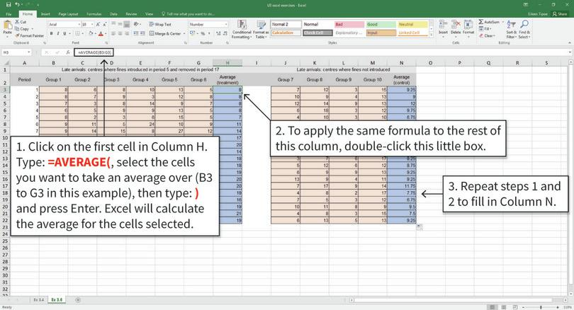 Calculate averages for each group and time period : We will use Excel's AVERAGE function to calculate the average number of late arrivals for both groups, and put them in the shaded blue cells.