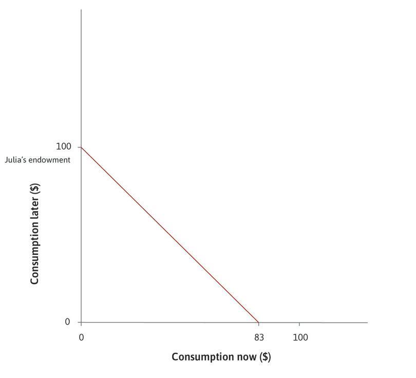 Julia's feasible frontier : The dark red line shows Julia's feasible frontier when the interest rate is 20%.