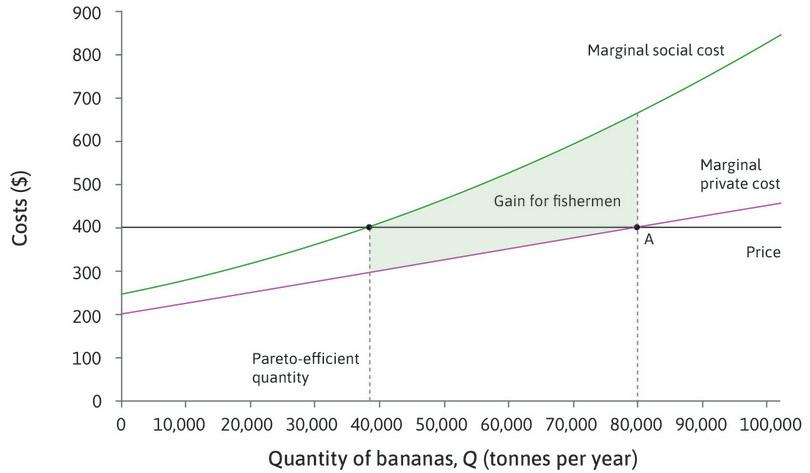 The status quo at point A : The situation before bargaining is represented by point A, and the Pareto-efficient quantity of bananas is 38,000 tonnes. The total shaded area shows the gain for fishermen if output is reduced from 80,000 to 38,000 (that is, the reduction in the fishermen's costs).