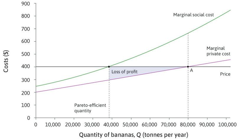 Lost profit : Reducing output from 80,000 to 38,000 tonnes reduces the profits of plantations. The lost profit is equal to the loss of producer surplus, shown by the blue area.