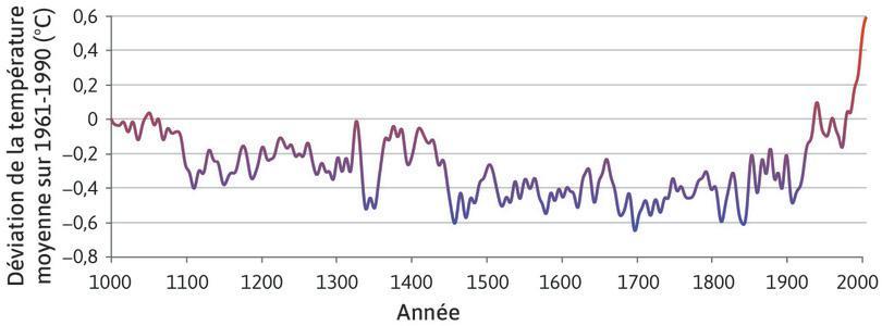 Températures dans l'hémisphère Nord à long terme (1000–2006).