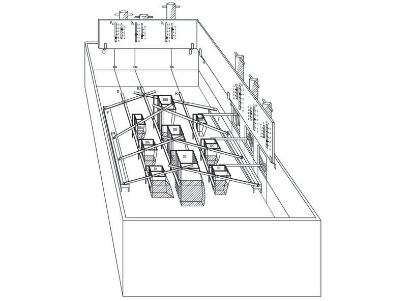 Schéma du modèle hydraulique d'équilibre économique par Irving Fisher (1891)