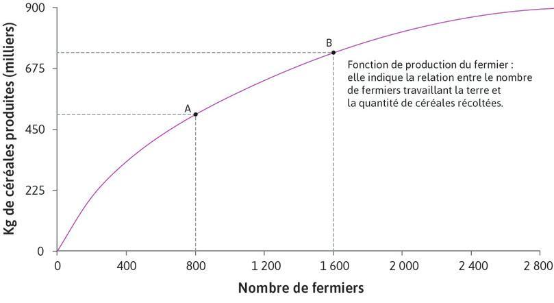 Production avec 1600fermiers : Le point B de la fonction de production représente la quantité de céréales produite par 1600fermiers.