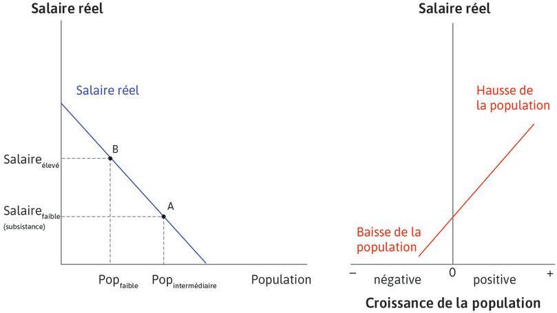 Graphique de droite: comment la croissance démographique dépend des niveaux de vie : La droite du graphique de droite est croissante, ce qui indique que lorsque les salaires (sur l'axe des ordonnées) sont élevés, la croissance de la population (sur l'axe des abscisses) est positive (la population augmentera donc). Quand les salaires sont bas, la croissance de la population est négative (la population chute).
