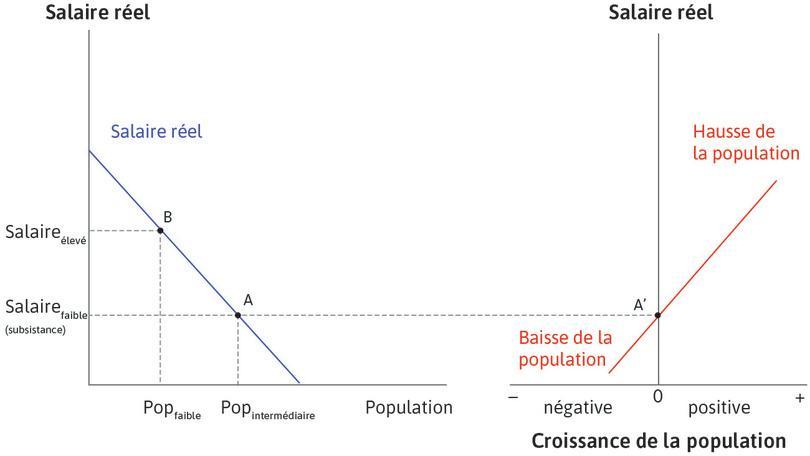 Faire le lien entre les deux graphiques : Au point A, sur la gauche, la population est de taille intermédiaire et le salaire est au niveau de subsistance. Le tracé vers le pointA′ sur la droite montre que la croissance démographique est égale à zéro. Ainsi, si l'économie est au pointA, elle est à l'équilibre: la population reste constante et les salaires restent au niveau de subsistance.