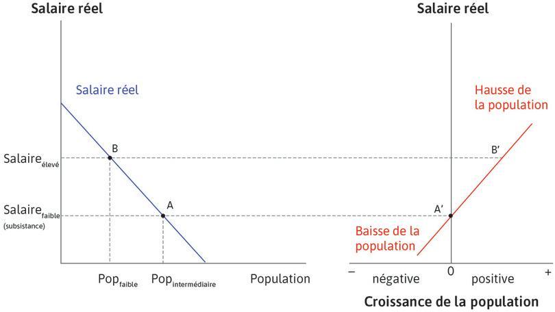 Une population plus petite : Après une épidémie, par exemple, l'économie est au pointB, avec un salaire plus élevé et une population moindre. Le pointB′, sur la droite, montre que la population augmentera.