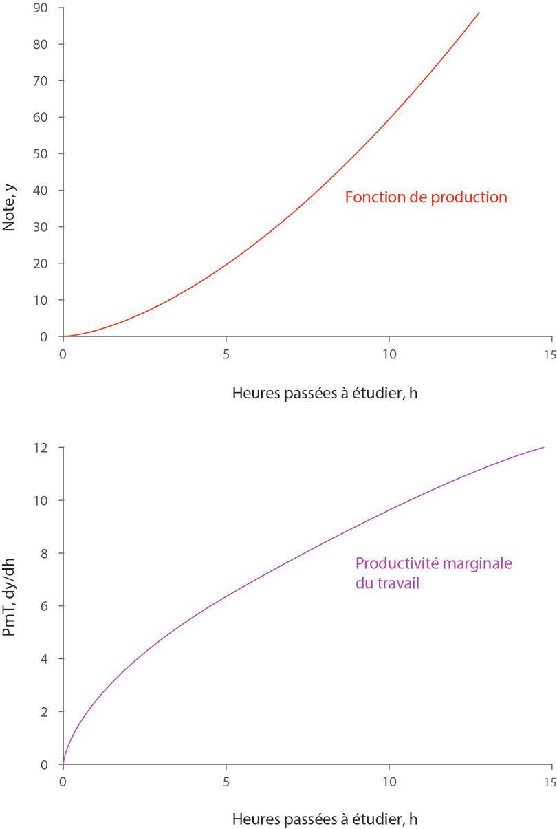 La fonction de production y = 1,5h1,6 et la productivité marginale correspondante.