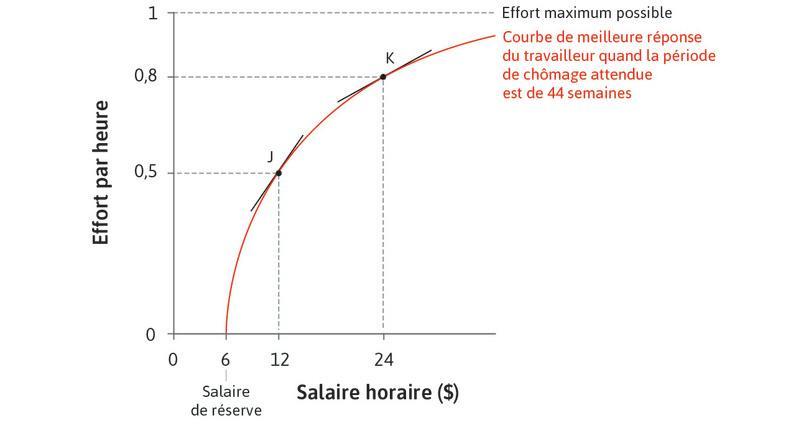 Rendements marginaux décroissants : Pour des niveaux de salaires élevés, en revanche, une augmentation de salaire a un effet plus faible sur le niveau d'effort.