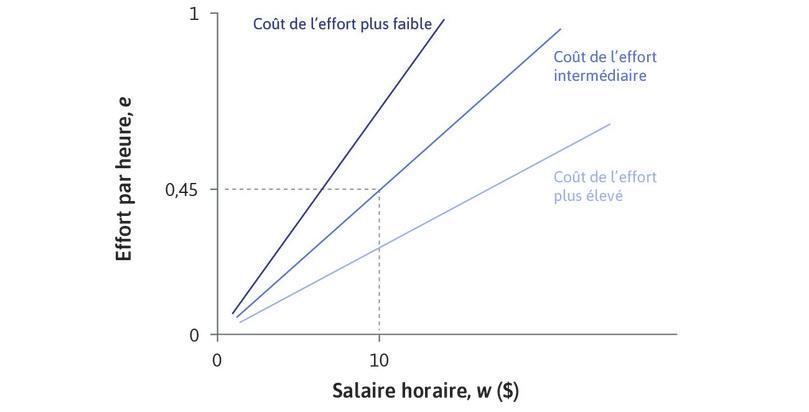 D'autres droites d'isocoût : Sur une droite d'isocoût, la pente est e/w, mais le coût de l'effort est w/e. Une droite plus pentue correspond à un coût de l'effort plus faible, et une droite plus plate à un coût de l'effort plus élevé.