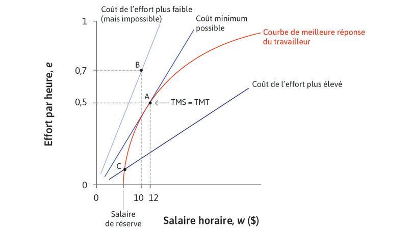 Point B : Les points sur des droites d'isocoût plus pentues, commeB, correspondent à des coûts plus faibles pour l'employeur, mais ne sont pas réalisables.
