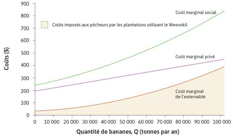 Le coût marginal externe : La courbe orange représente le coût marginal imposé par les producteurs de bananes aux pêcheurs – le coût marginal externe (CmE). Il s'agit du coût de la réduction de la quantité et qualité de poissons causée par chaque tonne supplémentaire de bananes.