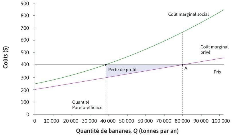 Profit perdu : Réduire la production de 80000 à 38000tonnes réduit les profits des bananeraies. La perte de profit est égale à la perte de surplus du producteur, désignée par l'aire bleue.