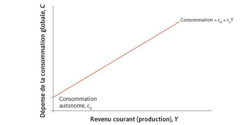 La consommation qui dépend du revenu : La droite croissante reflète la part de la consommation qui dépend du revenu courant (et donc du niveau courant de production).