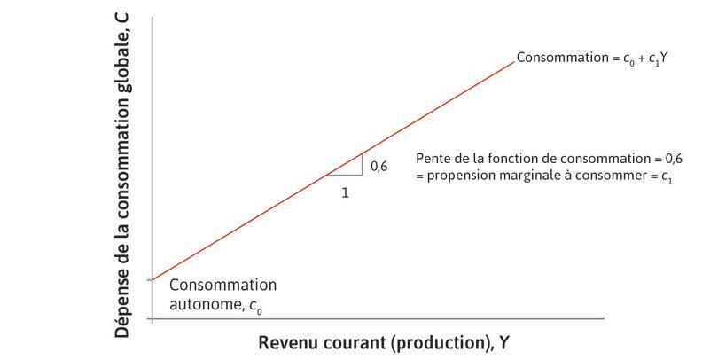 La fonction de consommation agrégée.