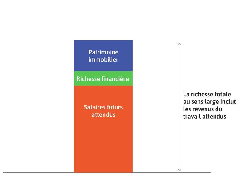 La richesse au sens large totale du ménage : C'est la somme des rectangles vert, bleu et orange.