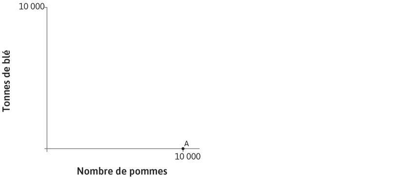 La production de Carlos : La partie gauche de la figure montre les combinaisons de blé et de pommes que Carlos peut produire en un an. S'il ne produit que des pommes et qu'il a 100hectares de terres, il peut en produire 10000. C'est ce que l'on voit au pointA de l'axe des abscisses.