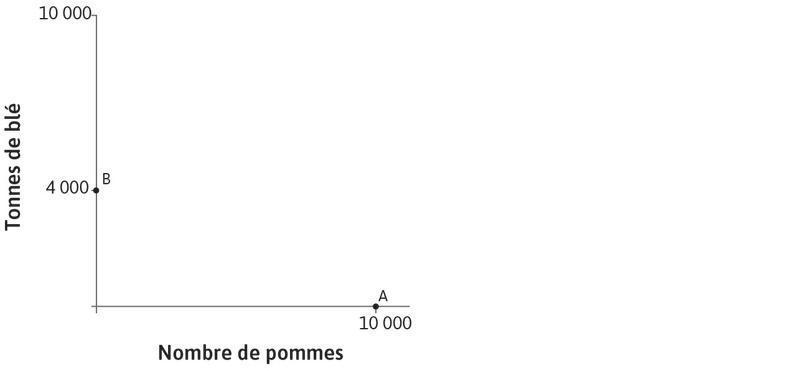 Spécialisation dans le blé : De la même manière, si Carlos ne produit que du blé, il peut en produire 4000tonnes, comme l'on peut le voir au pointB de l'axe des ordonnées.