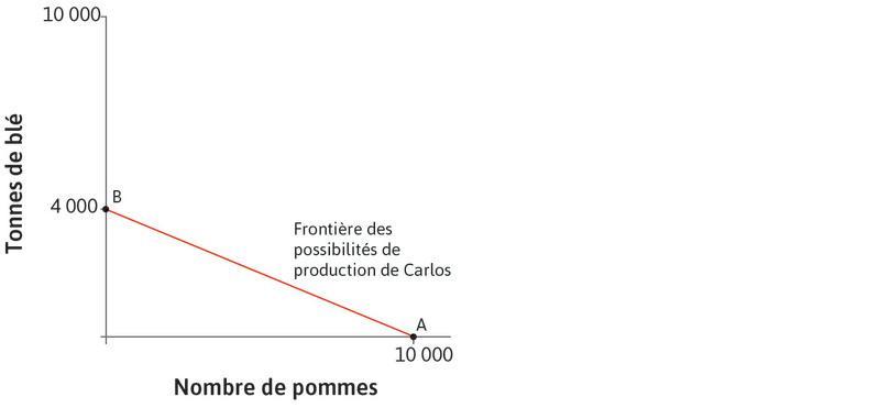 La frontière des possibilités de production : La droite rouge qui relie les pointsA et B est la frontière des possibilités de production de Carlos. Elle montre toutes les combinaisons de blé et de pommes que Carlos peut produire en un an.