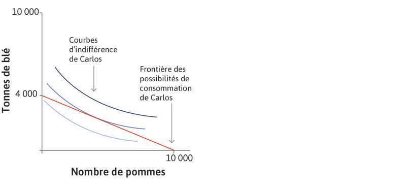 Courbes d'indifférence de Carlos : Les formes des courbes d'indifférence représentent les préférences de Carlos pour le blé et les pommes.