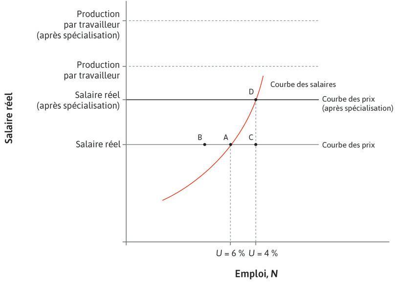 Hausse de la demande de travail : La demande augmente le pouvoir de négociation des travailleurs. Les salaires augmentent. Ce processus s'arrête quand l'économie arrive à une nouvelle intersection entre les courbes des prix et des salaires au pointD.