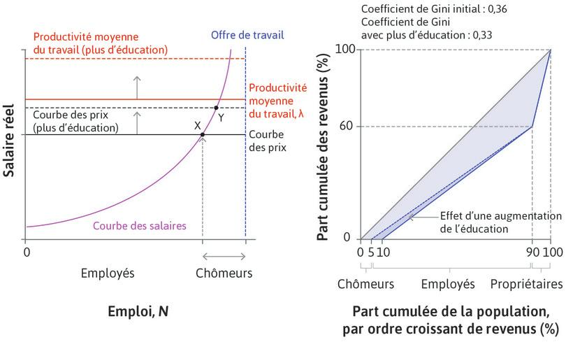 Effet d'une main-d'œuvre plus éduquée sur les inégalités entre employeurs, employés et chômeurs: le marché du travail de l'économie dans son ensemble et la courbe de Lorenz.