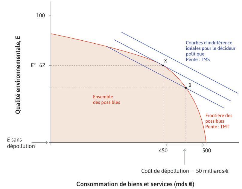 Choix du niveau de dépollution par le décideur public idéal.