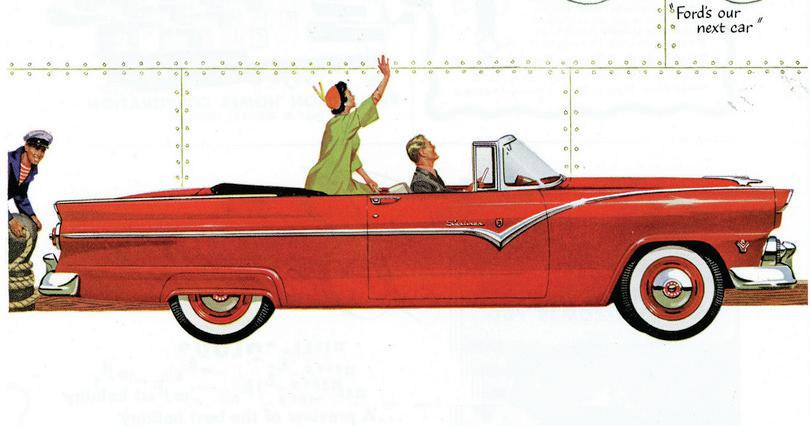 Publicité Ford de 1955 : courtesy Ford Motor Company ; photograph by Don O'Brien, https://goo.gl/0qfEU7