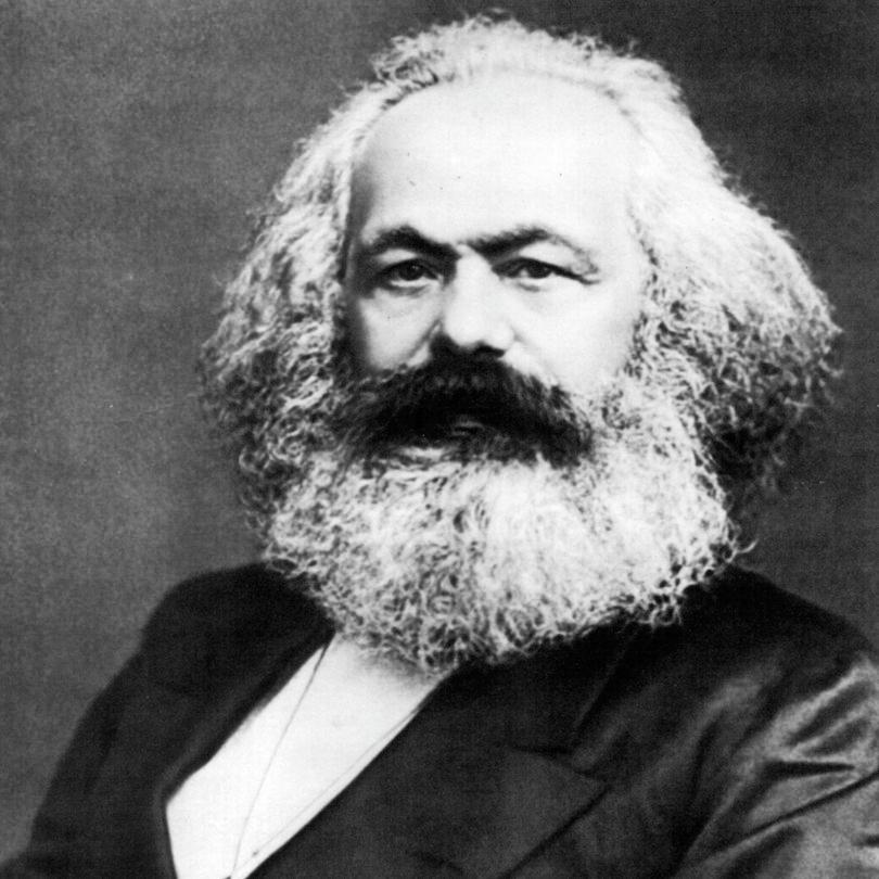 Photograph of Karl Marx by John Mayall, public domain, via Wikimedia Commons