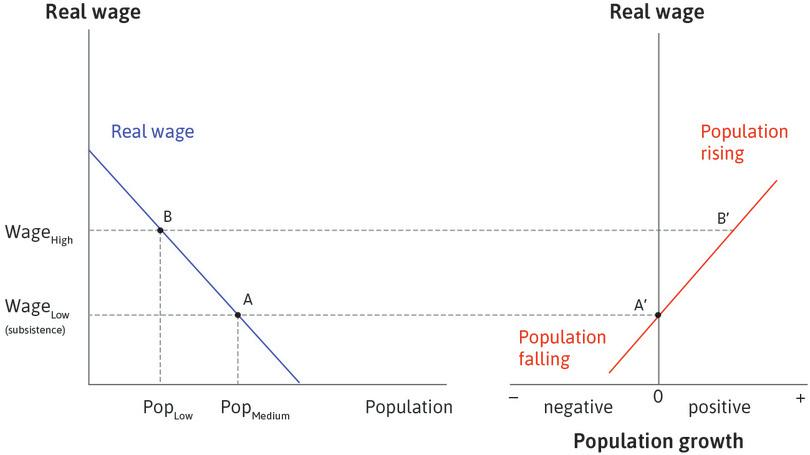 A lower population : Suppose the economy is at B, with a higher wage and lower population. Point B′, on the right, shows that the population will be rising.