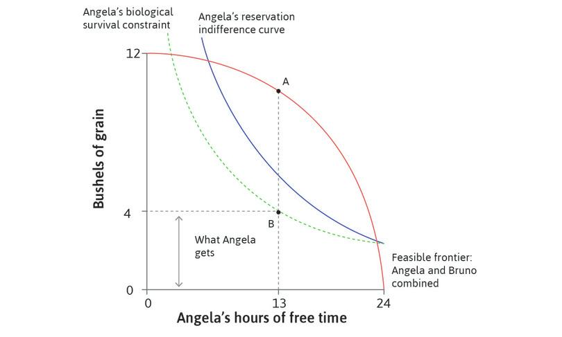 Bruno's best outcome using coercion : Using coercion, Bruno chose allocation B. He forced Angela to work 11 hours and received grain equal to AB. The MRT at A is equal to the MRS at B on Angela's biological survival constraint.