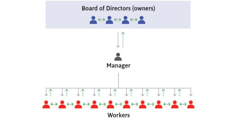 Flows of information : The green arrows represent flows of information. The upward green arrows are dashed lines because workers often know things that managers do not, and managers know things that owners do not.