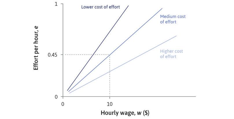 Other isocost lines : On an isocost line, the slope is e/w, but the cost of effort is w/e. The steeper line has a lower cost of effort, and the flatter line has a higher cost of effort.